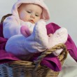 Pink easter rabbit in the basket  — Photo