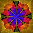 Beautiful fractal flower in blue, red and yellow. - Stock Photo