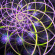 Abstract fractal pattern in purple, green and yellow. - Stock Photo