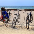 Parking for municipal Bicycle on the beach in Marseille, France — Stock Photo