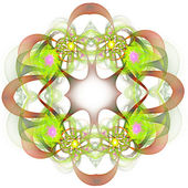 Fractal wreath in green, pink and brown — Stock Photo