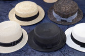 Vintage straw boater hats. — Stock Photo