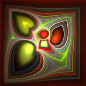Abstract hearts in frame. Computer generated graphics. Green and — Stock Photo