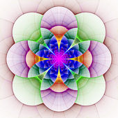 Beautiful fractal flower in blue, green and purple. — Stock Photo