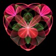 Flower heart fractal on black background. — Stock Photo