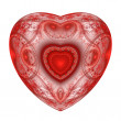 Stock Photo: Red heart fractal on white background.