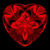 Flower red heart fractal on black background. — Stock Photo