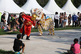 MARSEILLE, FRANCE - AUGUST: Chinese dance with dragon. Marseille — Stock Photo