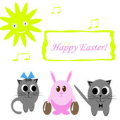 Funny pink rabbit with easter eggs and two cats — Stock Photo