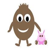 Usmívající se čokoládové vajíčko a vtipné růžový králík s velikonoční vajíčka — Stock fotografie