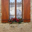 Stock Photo: Window box flower arrangement, Burgundy, France