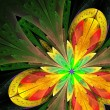 Beautiful fractal flower in green and yellow. — Stock Photo