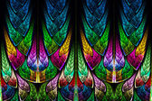 Fractal pattern in stained glass style. Computer generated graph — Stock Photo