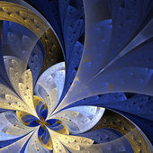Beautiful fractal flower in blue and yellow. Computer generated — Stock Photo