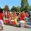 Постер, плакат: MARSEILLE FRANCE AUGUST 26: Girls playing drum Marseille Fes