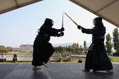 MARSEILLE, FRANCE - AUGUST 26: Japanese swords fight. Marseille — Stock Photo