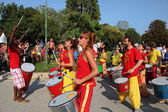 MARSEILLE, FRANCE - AUGUST 26: Players on African drums. Marseil — Stock Photo
