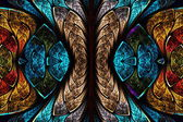 Fractal pattern in stained glass style. — Stock Photo