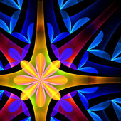 Petal pattern in blue and yellow. Computer generated graphics. — Stock Photo