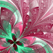 Stock Photo: Beautiful fractal flower in green and pink.