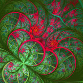 Beautiful fractal flower in green and red. Computer generated gr — Stock Photo