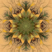 Beautiful fractal flower in brown and green. — Stock Photo
