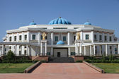 Palace with columns and blue domes. Ashkhabad. Turkmenistan — Stock Photo