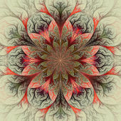 Beautiful fractal flower in red, green and gray. — Stock Photo
