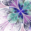 Stock Photo: Beautiful fractal flower in blue, violet and green. Computer gen