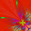 Stock Photo: Multicolor fractal flower on red background. Computer generated