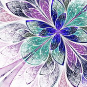 Beautiful fractal flower in blue, violet and green. Computer gen — Stock Photo