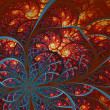 Beautiful fractal flower in blue and orange. Computer generated  — ストック写真