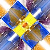 Fraktala mönster i blått och gult. datorgenererad grafik. — Stockfoto
