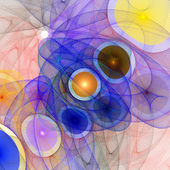 Pattern from a grid and multi-colored spheres. Computer generate — Stock Photo