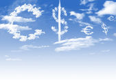 Cloud Euro and dollar currency symbol shape over blue sky — Photo