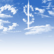 Cloud Euro and dollar currency symbol shape over blue sky — Stock Photo