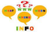 Information skrivet med flerfärgad plast barn bokstäver — Stockfoto