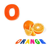 Illustrated alphabet letter o and orange on white background. — Stock fotografie