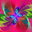 Multicolor beautiful fractal flower on pink background.  — Стоковая фотография