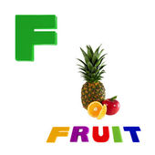 Illustrated alphabet letter f and fruit on white background. — 图库照片