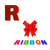 Illustrated alphabet letter r and ribon on white background. — Stock Photo