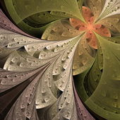 Beautiful fractal flower in beige, brown and green. — Stock Photo