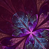 Beautiful fractal flower in blue and violet. — Stock Photo