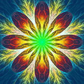 Multicolor beautiful fractal flower. Computer generated graphics — Stock Photo