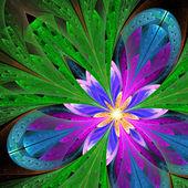 Flor multicolor fractal linda em verde, roxo e azul. c — Fotografia Stock
