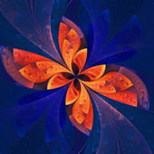 Beautiful fractal flower in dark blue and orange. — Stock Photo