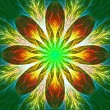 Beautiful fractal flower in green and yellow. Computer generated — Stock Photo #38845981