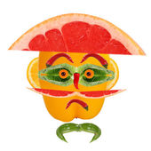 Healthy eating. Funny face made of vegetables and fruits — Stockfoto