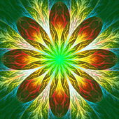 Beautiful fractal flower in green and yellow. Computer generated — Stock Photo