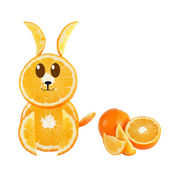 Healthy eating. Funny rabbit made of the orange slices. — Stock Photo